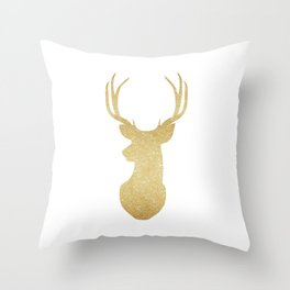 Gold Glitter Reindeer Throw Pillow