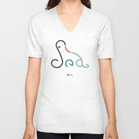 seal V-neck T-shirts featuring s- seal by gazonula