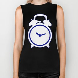 Electric Blue Mornings - with white alarm clock Biker Tank