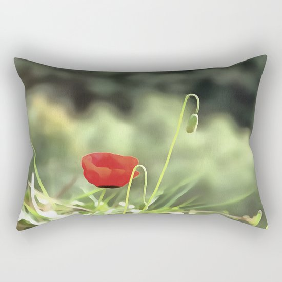 One Poppy Rectangular Pillow