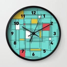 Midcentury Mondrian Scratch Art Wall Clock
