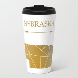 Nebraska In Gold Travel Mug