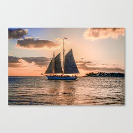 Sunset Sail and Plane Canvas Print