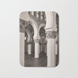 The Historic Arches in the Synagogue of Santa María la Blanca 5, Toledo Spain Bath Mat