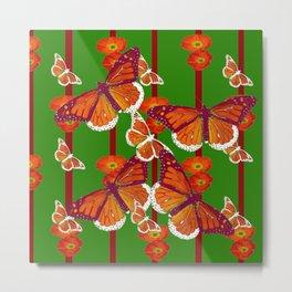 GREEN  DECORATED MONARCHS & POPPY FLOWERS ART Metal Print