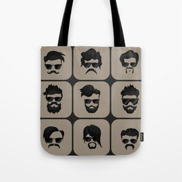 mustache, beard and hairstyle hipster Tote Bag