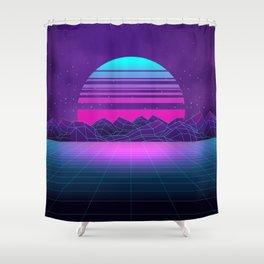 Future Sunset Vaporwave Aesthetic Shower Curtain