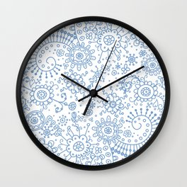 Graphic Ink Doodles (periwinkle) Wall Clock
