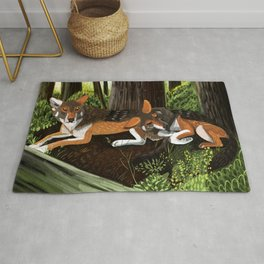 Totem Red Wolf in the forest Rug