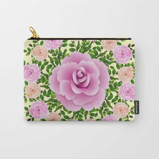 Pink Roses On Yellow Design Carry-All Pouch