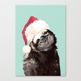 Christmas Sloth in Green Canvas Print