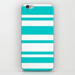 Mixed Horizontal Stripes - White and Cyan iPhone Skin