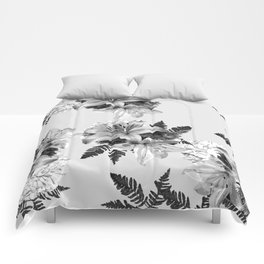 LILY SILVER GRAY WITH HYDRANGEAS AND FERNS Comforters
