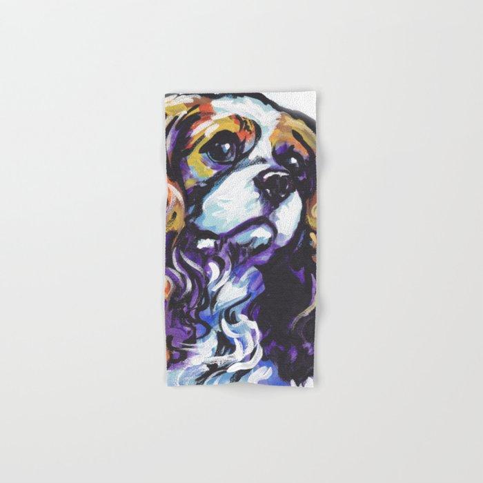 Blenheim Cavalier King Charles Spaniel Dog Portrait Pop Art painting by Lea Hand & Bath Towel