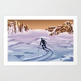 Skiing on Mars Art Print