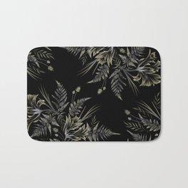 Ferns and Parrot Tulips - Black Bath Mat