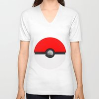 pokeball V-neck T-shirts featuring Pokeball by Studio Momo╰༼ ಠ益ಠ ༽