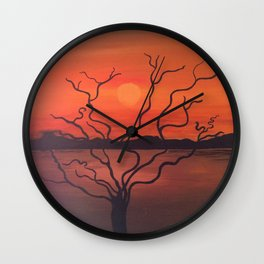 Evening View From River Bank Wall Clock