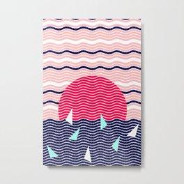 Hello Ocean Sunset Waves Metal Print