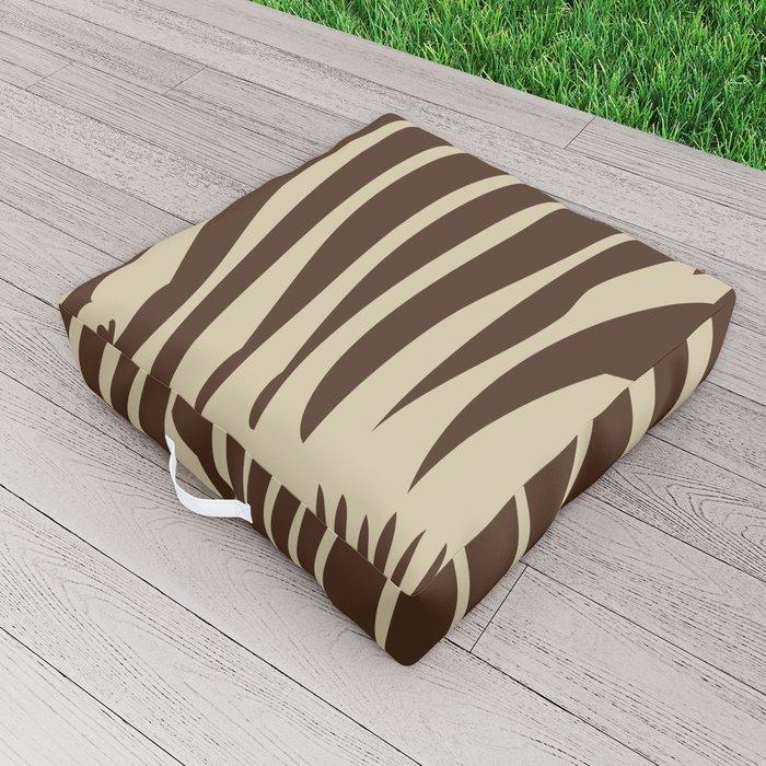 Zebra Stripes   Animal Print   Chocolate Brown and Beige   Outdoor Floor Cushion