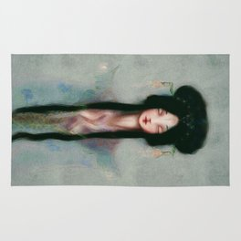 Meditation Pastel Serenity Chinese Goddess of Mercy Kuan Yin Watercolor peaceful blue oil painting Rug