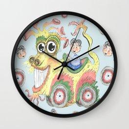 dragon car mobile fantasy w/ little boy, light blue aqua yellow green Wall Clock