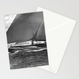 12-meter Sailing Yacht America's Cup Races nautical black and white photograph Stationery Cards