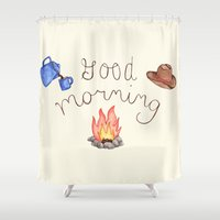 good morning Shower Curtains featuring Good Morning by Brooke Weeber