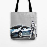 lamborghini Tote Bags featuring Lamborghini Troopers by Vin Zzep