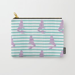 Mermaid & Stripes Pattern - Lavender / Aqua Carry-All Pouch
