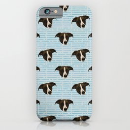 Cute Brown Hound Puppy Faces - Blue Theme Pattern iPhone Case