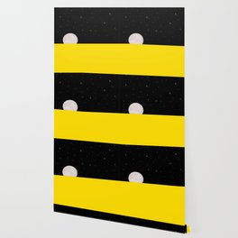 Black night with stars, moon, and yellow sea Wallpaper