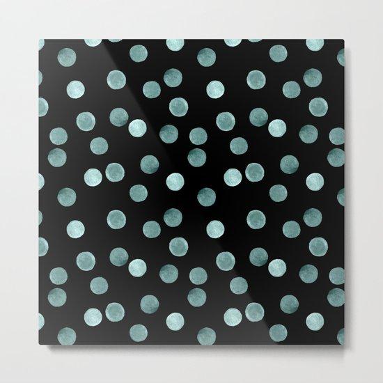Blue polka dots on a black background . Watercolor pattern . Metal Print