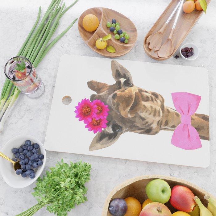 Giraffe funny animal illustration Cutting Board