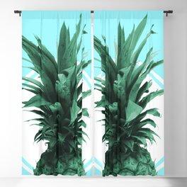 Pineapple Print - Tropical Wall Art - Botanical Print - Pineapple Poster - Blue - Minimal, Modern Blackout Curtain