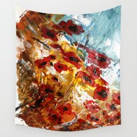 poppies Wall Tapestries featuring Poppies by James Peart