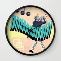 louis armstrong Wall Clocks featuring St Louis by Liall Linz