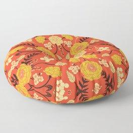 Vibrant Orange, Yellow & Brown Floral Pattern w/ Retro Colors Floor Pillow