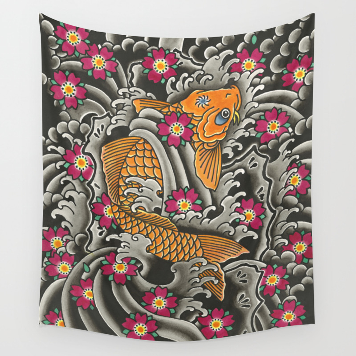 8a9e6e42a Japanese Koi Fish and Cherry Blossoms Tattoo Art Wall Tapestry by ...