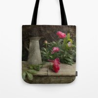 peony Tote Bags featuring Peony by  Robin-Lee