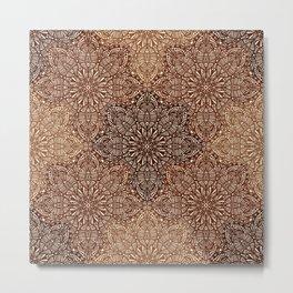 Copper Boho Mandela Pattern Metal Print