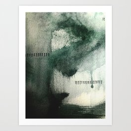Last Kiss: a minimal, abstract watercolor piece in greens Art Print