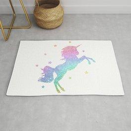 unicorn pastel gitter galaxy Rug