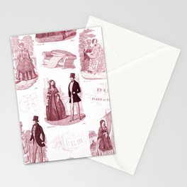 Biedermeier Red Fashion Toile Stationery Cards