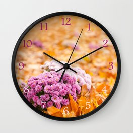 Flowering clump of pink Chrysanths Wall Clock