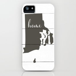 Rhode Island is Home - Charcoal on White Wood iPhone Case