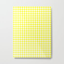 White and Electric Yellow Diamonds Metal Print
