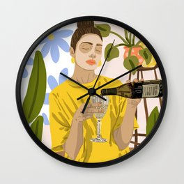 Self Care Illustration, Fashion Woman Wine Self Love, Face Mask Beauty Skin Care Plant Lady Wall Clock
