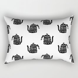 Kettle linocut black and white kitchen appliance coffee and tea water ketle Rectangular Pillow