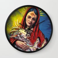occult Wall Clocks featuring Portrait - Occult Madoona with Baphomet Goat Child  by Len Danovich